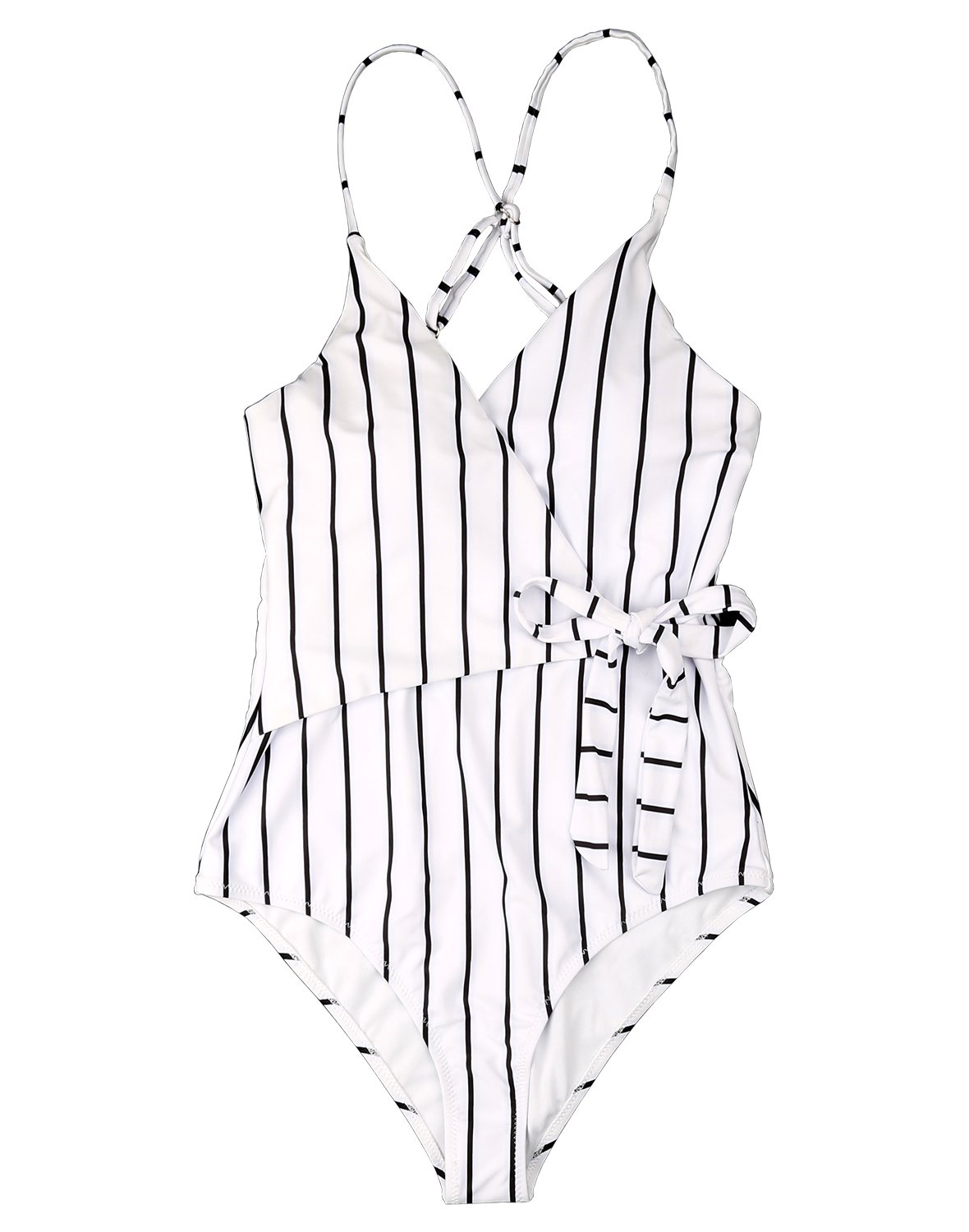 Fantastic Zone White Black Stripe One-Piece Swimsuit Beach Swimwear Bathing Suit M
