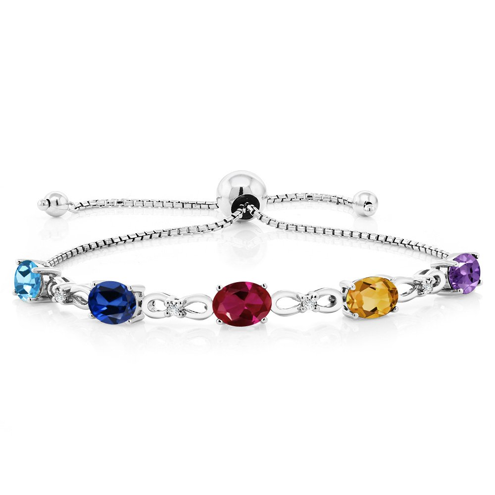 Gem Stone King 925 Sterling Silver Build Your Own Personalized 5 Birthstones Women's Tennis Bracelet by Gem Stone King