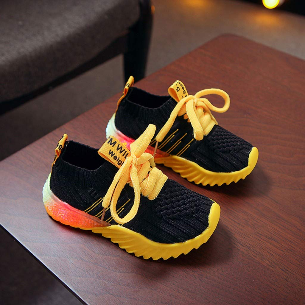 Onefa Baby Boys Girls LED Light Up Sneakers,for 1-6 Years Old,Kids Soft Luminous Mesh Sport Running Shoes