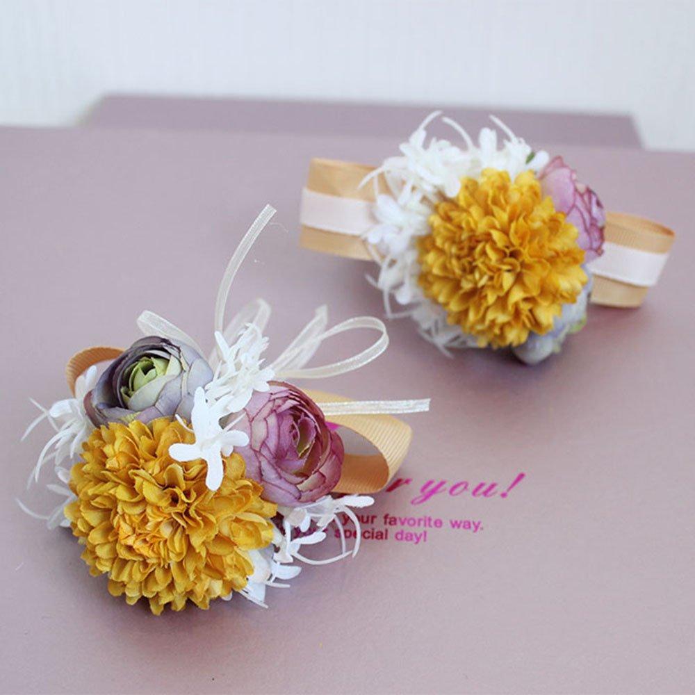 Estyle Fashion Wedding Prom Artificial Flower Wrist Corsage Bridal Bridesmaids Bridegroom Brooch Bracelet Mens Ladies Boutonniere Light Pink