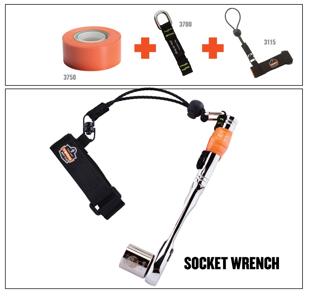 Small//Medium Ergodyne Squids 3115 Adjustable Wrist Tool Lanyard Black