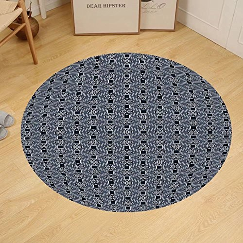 Gzhihine Custom round floor mat Japanese Diamond Line Pattern with Squares and Abstract Graphic Flowers Bedroom Living Room Dorm Charcoal Grey Dark Blue - Pr Grey Square