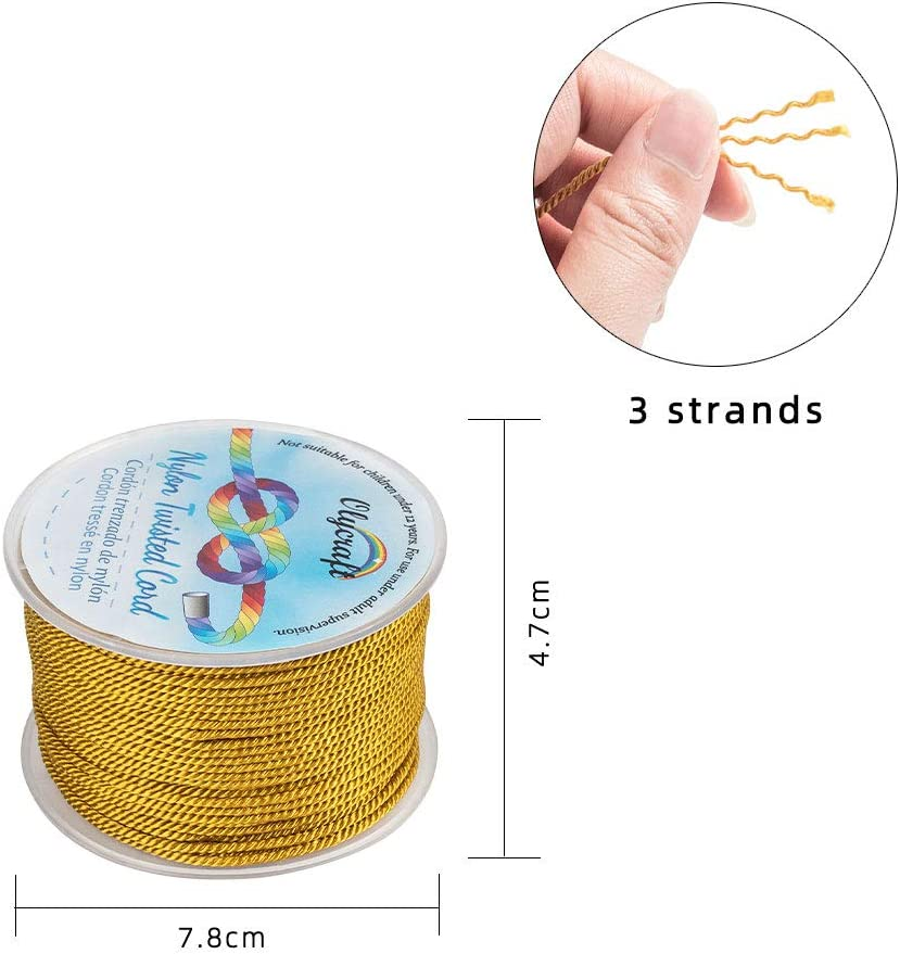 OLYCRAFT 55 Yards 2mm Twisted Satin Nylon Cord 3-Ply Lilac Twisted Cord Trim String Thread for Crafts and Jewelry Making
