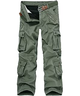 15a5f665 Congs Men's Winter Fleece Lined Military Cargo Pants Casual Outdoor Pants