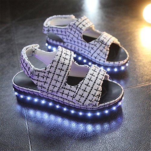 NEWZCERS 7 colores sandalias ligeras del LED para las mujeres, zapatos luminosos bajos gruesos de las etiquetas engomadas mágicas blanco