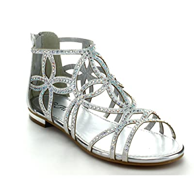 Forever Tory-63 Womens Cut Out Back Zip Flat Sandals | Flats