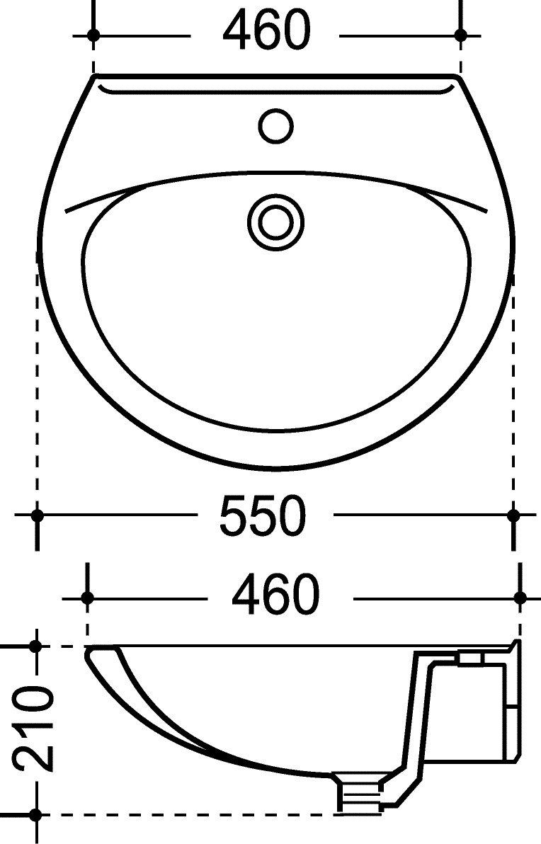 Waschtisch , , , 55 cm , pergamon 65db4f
