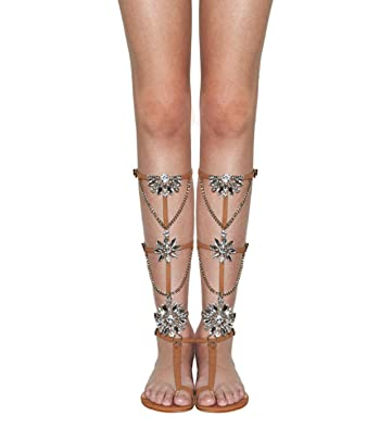 Nude Calista Leather Gladiator Jeweled Convertable Sandals Lightwood Schutz f7vb6ygY