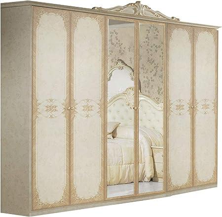 LIGNEMEUBLE Tatum lacado marfil dormitorio Barroque: El armario 6 puertas: Amazon.es: Hogar