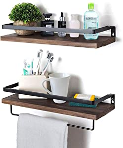 Rustic Floating Wall Shelves with Rails, Set of 2 Wood Wall Storage Shelves for Kitchen, Bedroom, Bathroom, Office (Brown)