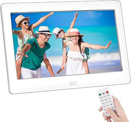 7 Inch Digital Photo Frame, NAPATEK Digital Picture Frame 1280×800 IPS Display Electronic Picture Frame 1080P HD Video Playback with USB SD Port Music Calendar Alarm Remote Control-White