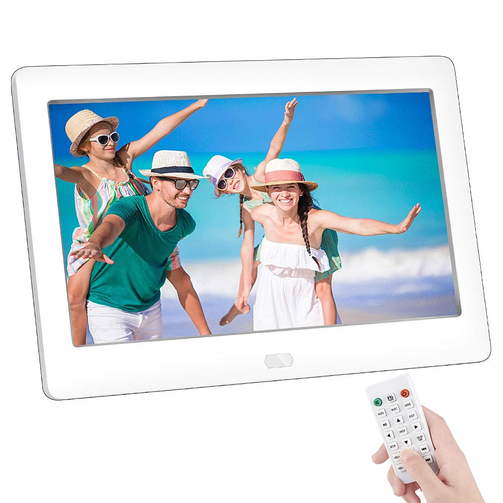7 Inch Digital Photo Frame, NAPATEK Digital Picture Frame IPS Display Electronic Picture Frame 1080P HD Video Playback with USB SD Port Music Calendar Alarm Remote Control-White