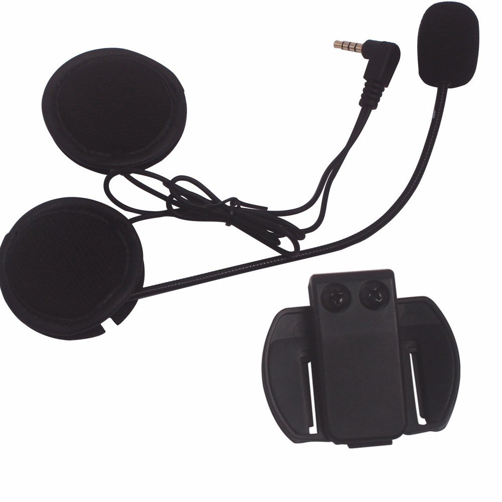 Intercom Microphone & Headset + Helmet Clip, Evary V6 Bluetooth Interphone Accessories Replacement Parts