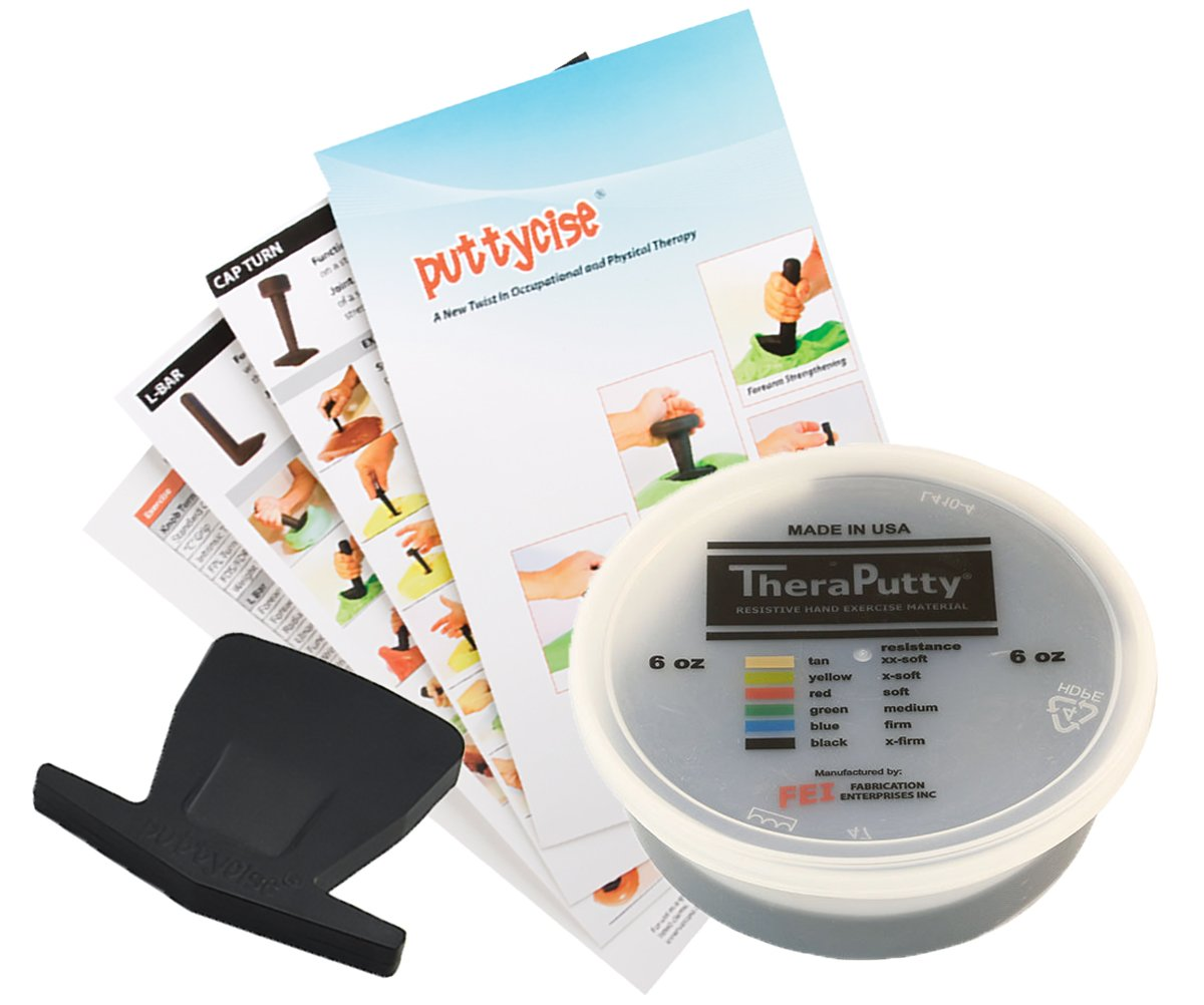 TheraPutty Antimicrobial Exercise Putty Black - X-firm 6 OZ + Puttycise Key Turn TheraPutty Exercise Tool + Manual Bundle