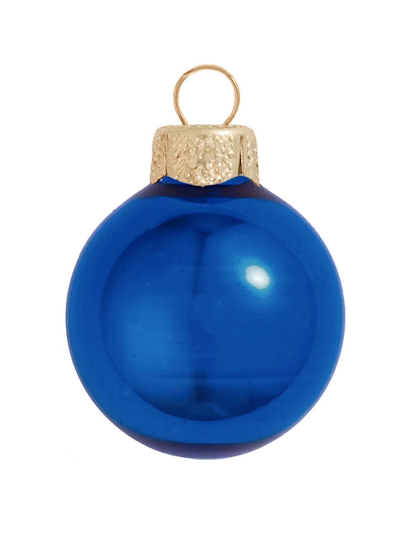 8ct Shiny Cobalt Blue Glass Ball Christmas Ornaments 3.25'' (80mm)