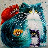 Shukqueen Diy Oil Painting, Adult's Paint by Number Kits, Acrylic Painting-Five coloured kittens 16X20 Inch (Frameless)