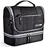 Toiletry Bag, VAGREEZ Hanging Travel Toiletry Organizer Kit with Hook and Handle Waterproof Cosmetic Bag Dop Kit for Men or Women (Black)