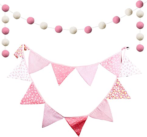 Pennant Garland Valentines Pennant Bunting fabric banner Girls Room Pink and White Bunting Nursery Decor Play Room Decor