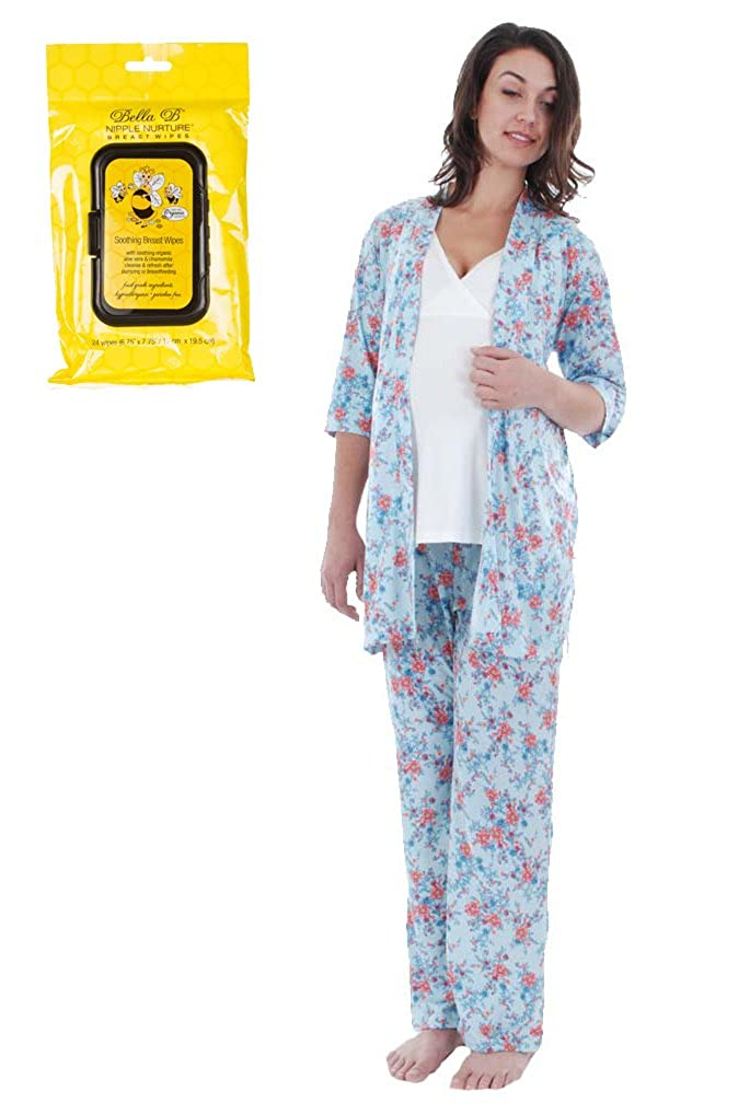 bluee Everly Grey Bundle 2 Items Susan Maternity Nursing PJ Bra Set + BellaB Breastwipes