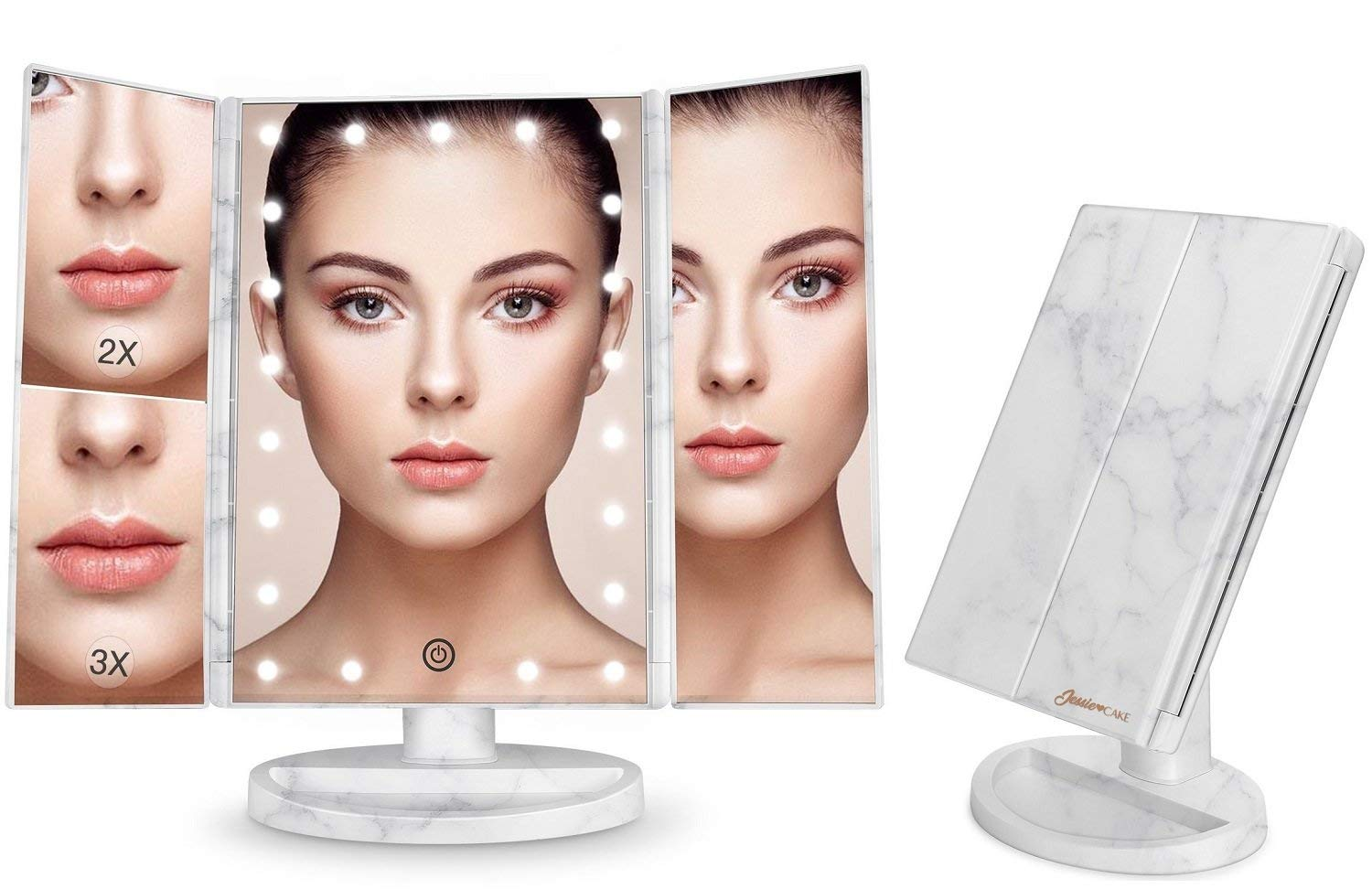 New White Marble [Exclusive] Tri Fold Makeup Vanity Mirror with 21 adjustable LED Lights, 3x/2x Magnification, Touch Screen and 180° Adjustable Rotation, Dual Power Supply, Countertop Cosmetic Mirror Jessie Cake
