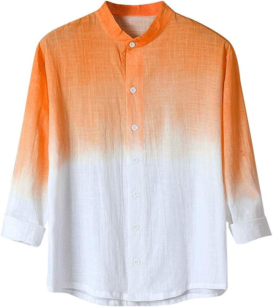Moonuy - Camisa para Hombre de Verano para Hombre, de Moda graduada, Transpirable, para Hombre, de algodón Suave Naranja 3XL: Amazon.es: Ropa y accesorios