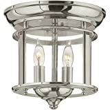Hinkley Gentry Collection Traditional Two Light Flush Mount, Polished Nickel