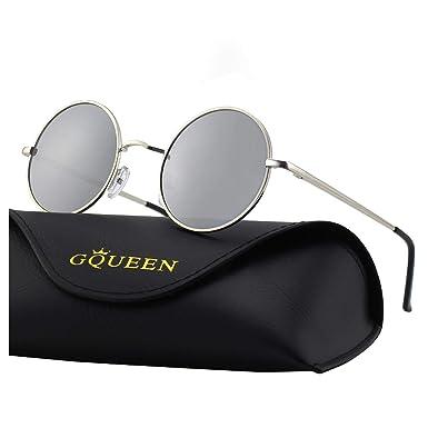 e4446badab GQUEEN Lunettes de soleil polarisées classiques Ronde Rétro Vintage Métal  Cadre Lennon pour Homme et Femme