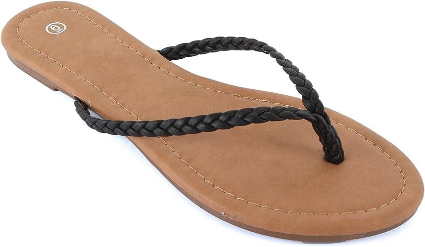Nevera Womens Summer Casual Easy Braided Rhinestone Thong Flip Flop Flat Sandal