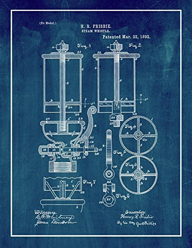 Frame a Patent Steam Whistle Patent Print Art Poster Midn...