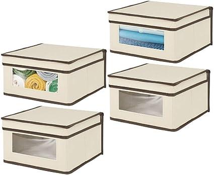 Cajas con Tapa Grandes para Guardar Ropa Organizadores de armarios de Fibra sint/ética Gris//Turquesa mDesign Juego de 4 Cajas apilables con Ventana para el Dormitorio