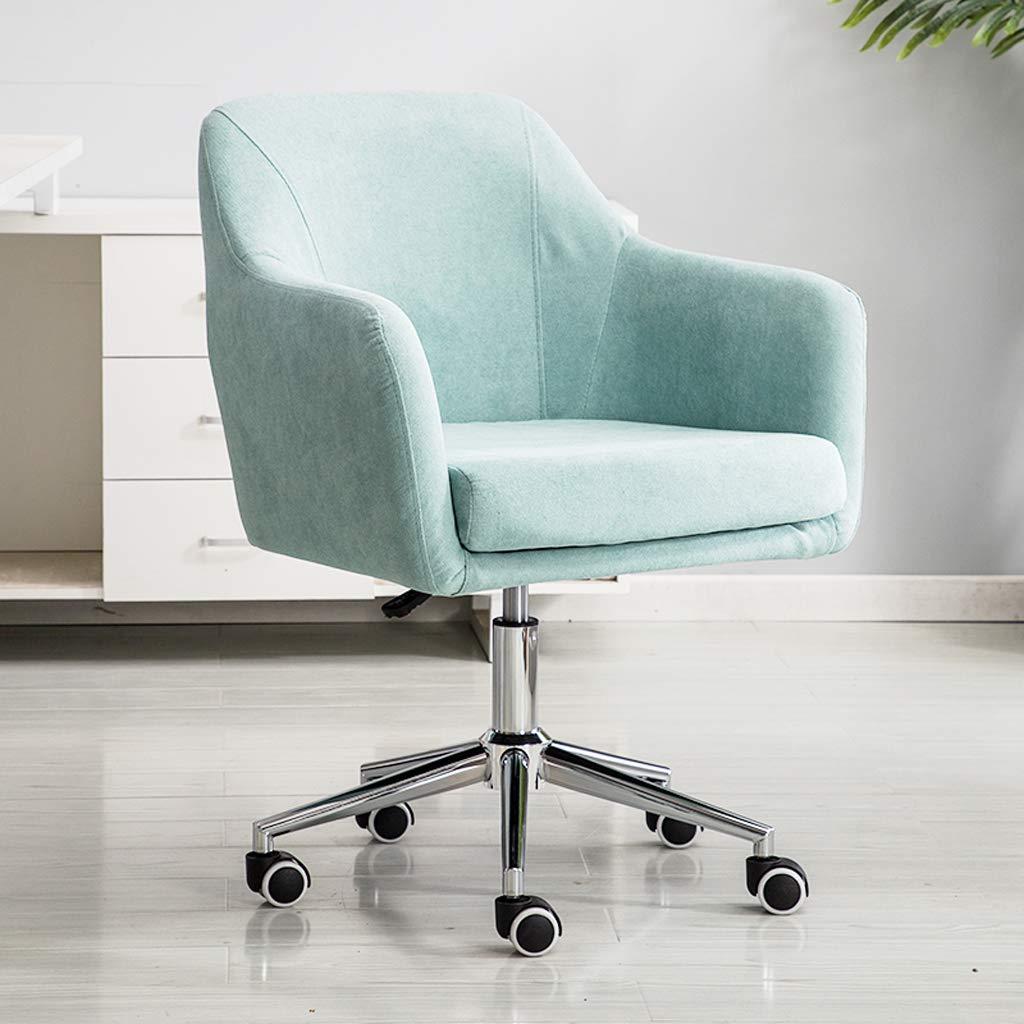 Aoyo hem dator stol kontorsstol, lyftstol svängbar stol tyg chef stol, enkel fritidsstol (färg: beige-trä fot) Yellow-rotatable Feet