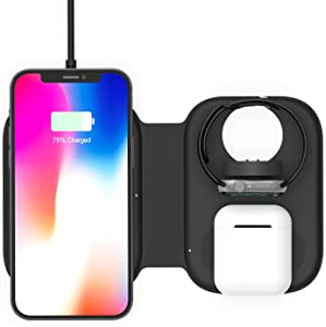 Magnetic Folding 3 in1 Fast Wireless Charging Station,Portable Foldable Charging Dock Power Station for Apple Watch 6/5/4/3/2, Multiple Devices Wireless Charger for iPhone 12,Pro,Pro Max,AirPods