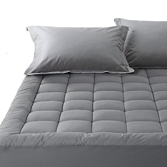 Amazon.com: Balichun Pillowtop Mattress Pad Cover 300TC 100% Cotton Down Alternative Filled Mattress Topper with 8-21-Inch Deep Pocket (Dark Grey, ...