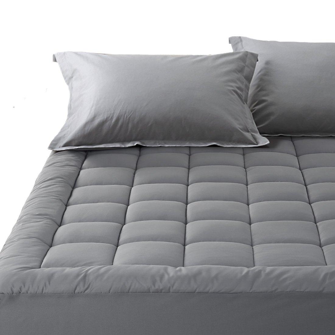 Balichun Pillowtop Mattress Pad Cover 300TC Cotton Down Alternative Filled Mattress Topper with 8-21-Inch Deep Pocket (Dark Gray, Twin XL)