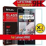 Lenovo K900 Glass Screen Protector, [2 Pack] AnoKe [Lifetime Warranty](0.3mm 9H 2.5D) Best Tempered Glass Screen Protector Film Shield For Lenovo K900 Glass 2Pack
