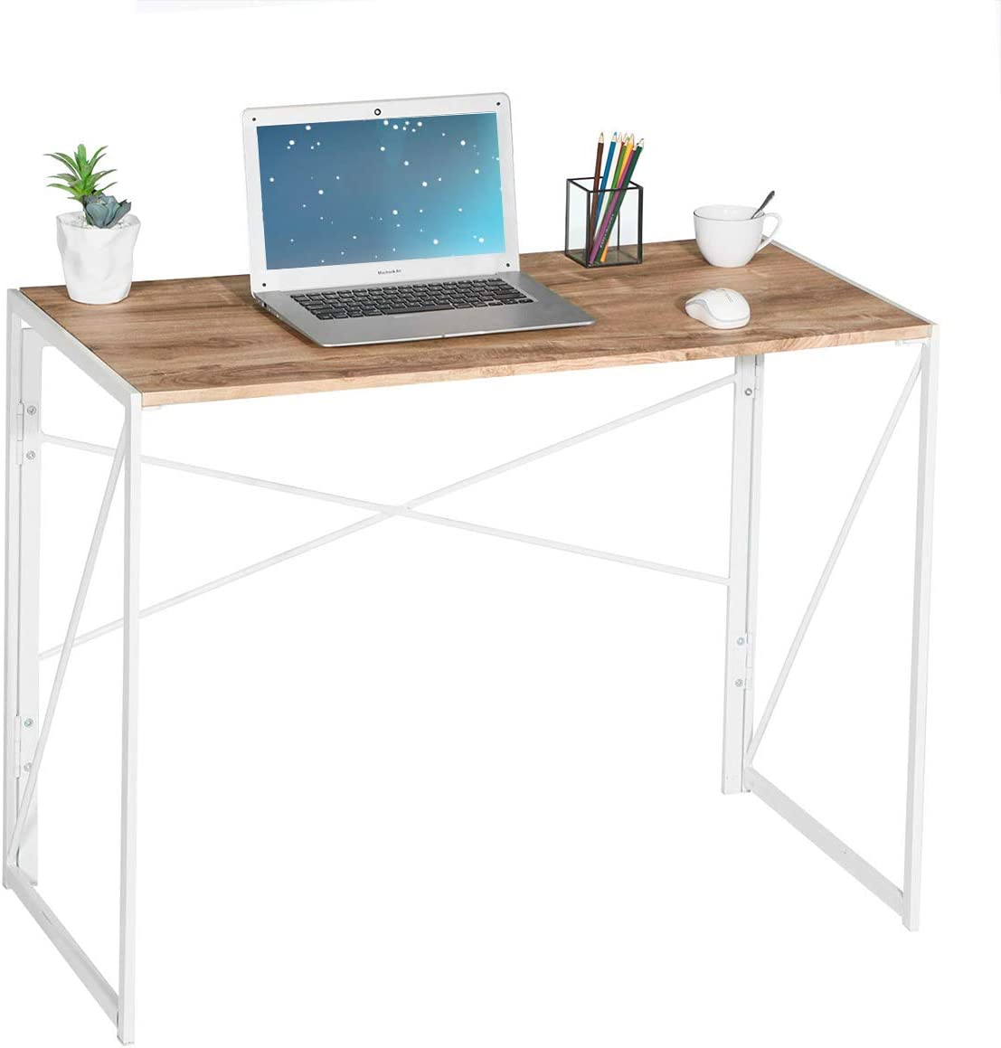 Folding Computer Desk Modern Writing Study Desk Industrial Simple Laptop Table for Home Office Notebook Desk, Oak White