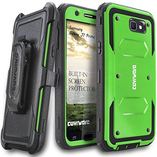 Samsung Galaxy J7 Prime/J7 Sky Pro/J7 Perx/J7 V 2017/J7 2017 Case, COVRWARE [Aegis Series] w/Built-in [Screen Protector] Heavy Duty Full-Body Rugged Holster Armor Cover [Belt Clip][Kickstand], Green