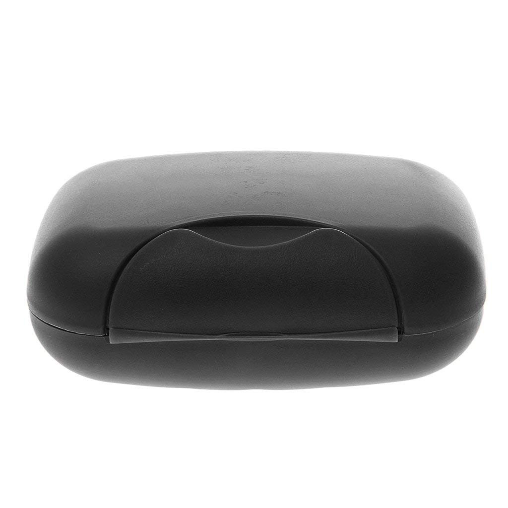 Plastic Soap Case Box Holder Dish Container for Outdoor Travel Home Use - Black 1pc Hemore