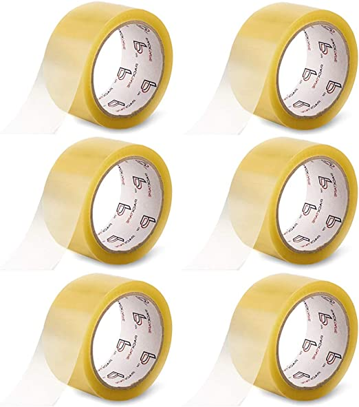 6 Stück Paketband Packband Klebeband Verpackungsband transparent  48mm x 66m