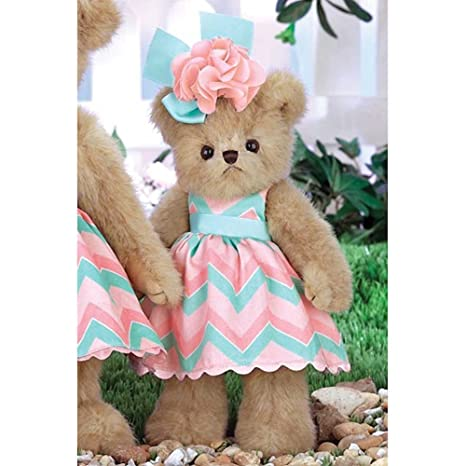 f30318effb7 Image Unavailable. Image not available for. Color  Bearington Peachy Dressed  Teddy Bear Stuffed Animal Toy ...