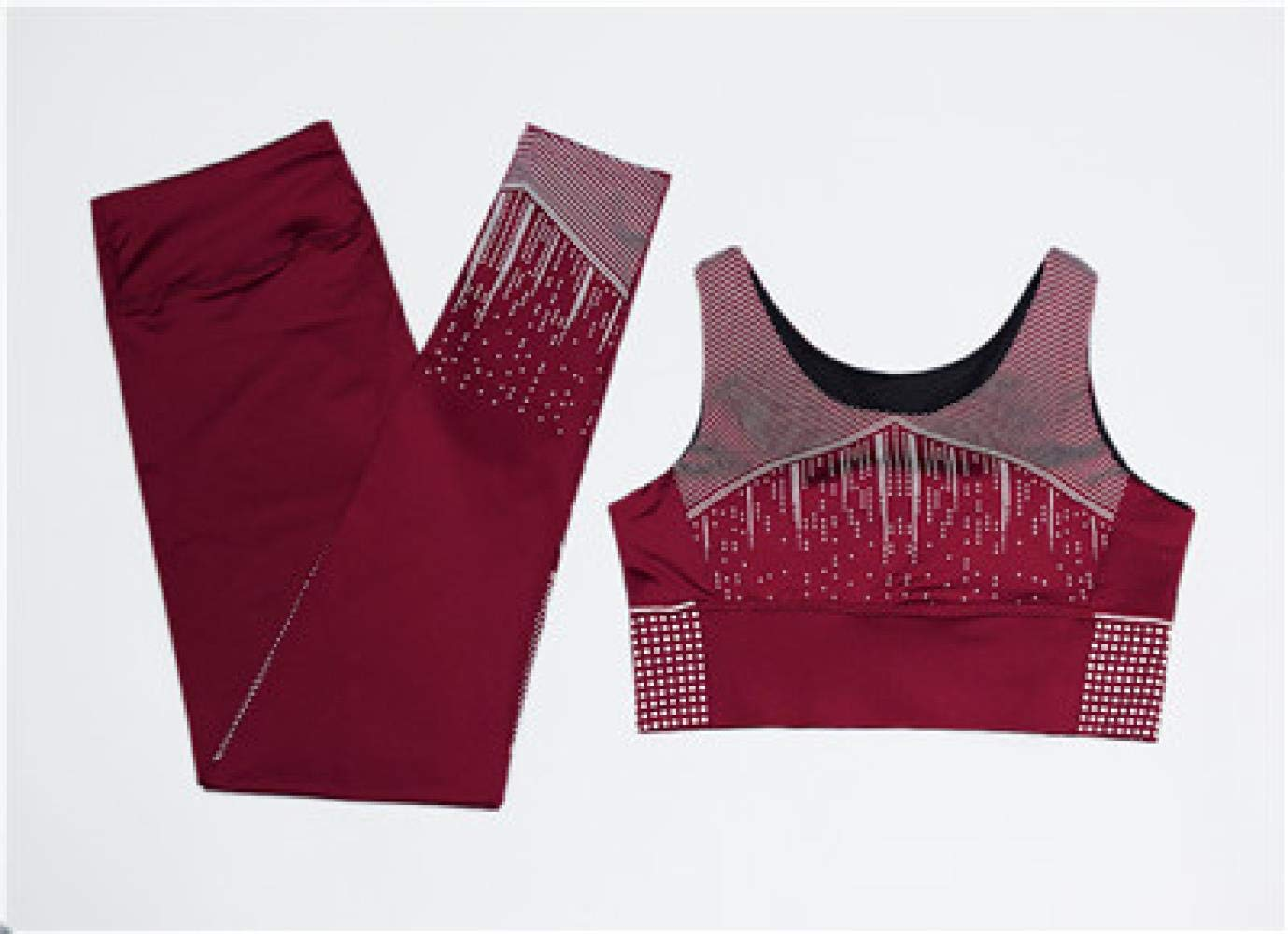 YANGCONG Yoga Fitness Bekleidung Frauen Yoga Set Weste + Strumpfhose Sportbekleidung Gym Sport BH Hosen Fitness Sport Anzug Laufbekleidung 2 STÜCKE dunkelrot M