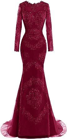 Amazon Com Little Star Women S Long Sleeve Mermaid Formal Evening Ball Gown Sheer Neck Prom Dress Clothing