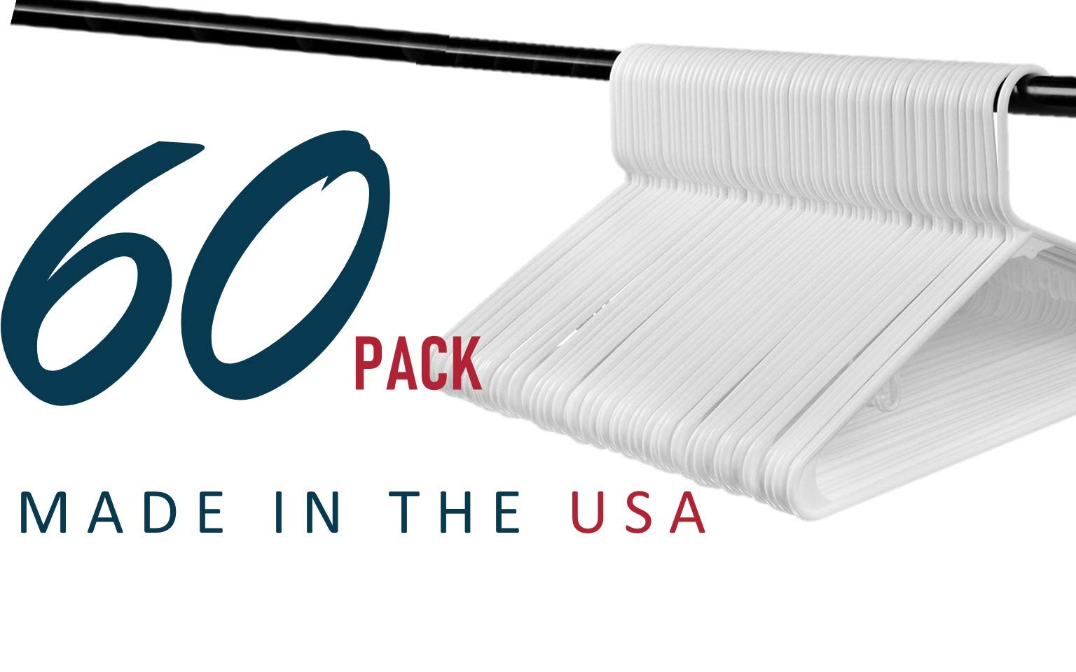 Best Standard Everyday White Plastic Hangers, Made in USA Long Lasting Tubular Hangers, Value Pack of 60. by Hangorize