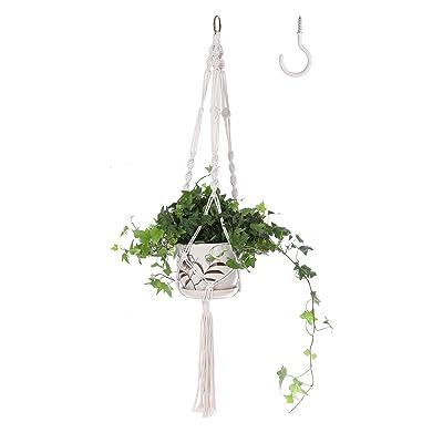 Macrame Hanging Planter - Handmade Cotton Rope Plant Hangers Basket Flower Pot Holder for Indoor and Outdoor ,1 Pack: Garden & Outdoor