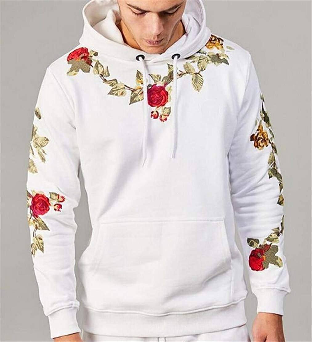 Domple Men Fashion Embroidery Pockets Drawstring Hoodie Pullover Sweatshirt
