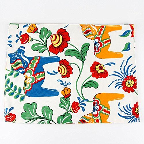INFEI Horse & Flower print canvas fabric placemats, heat insulation mat, dining table mats, Set of 2 Mats