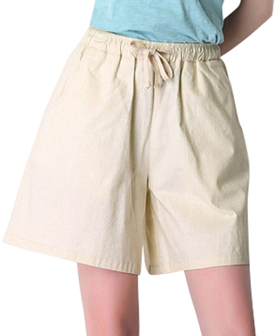 M Khaki Qiuse Women's Casual Wide Legs Elastic Waist with Drawstring Bermuda Shorts