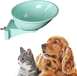 Lock Cage Bowl for Dogs, Cats, Birds and Rabbits, Ergonomic, Easy to Clean, Quick Secure Installation, Keep Floor Free and Clean from Food and Water, Must have for Pet Kennels, Teal Color, 1 pc