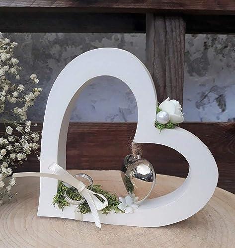 Hochzeit Ringkissen Ringhalter eckig weiß mit Herz für Eheringe