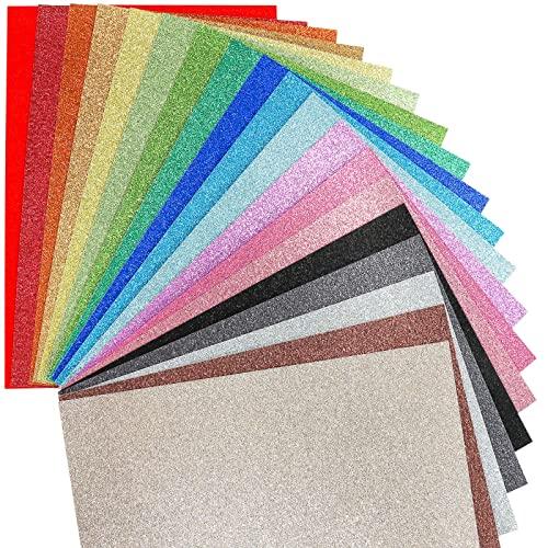 VGOODALL Glitzerpapier zum Basteln, Bunt Glitzer Papier A4 10 Farben 20 Blatt 250g/m² Glitterkarton zum Basteln und Gestalten